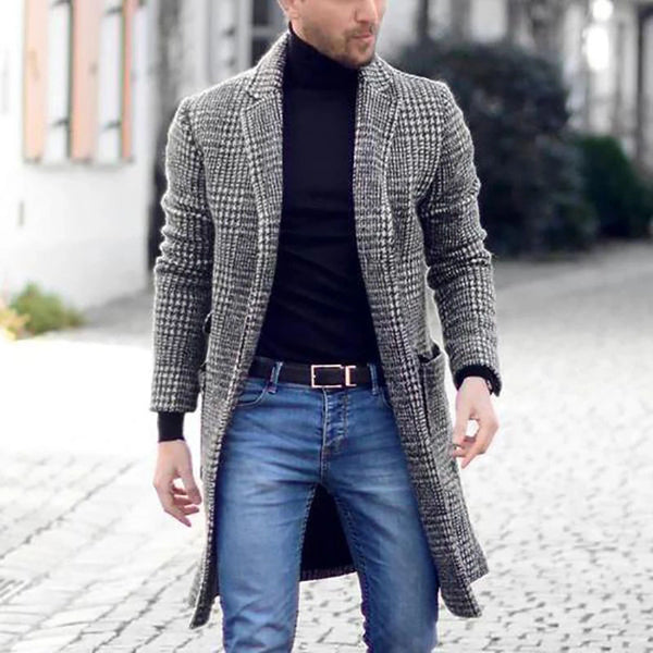 Fashion Plaid Flip Collar Pocket Woolen Coats
