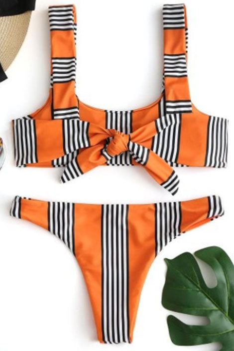 Striped Padded Bikini Set