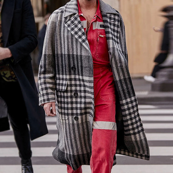 Fashion Plaid Large Lapel Mid-Length Coat