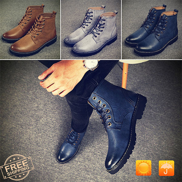 Men's navy waterproof leather boots