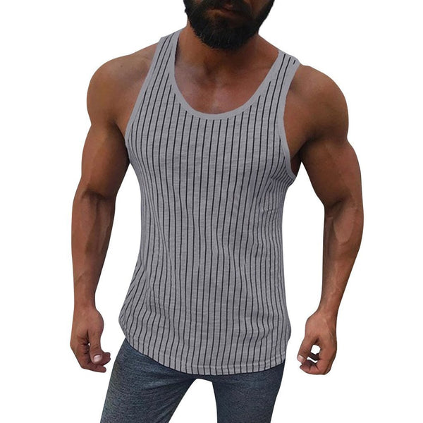Men's Striped Bottoming Sports Vest
