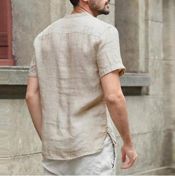 Men's Stand Collar Linen Short Sleeve Shirt