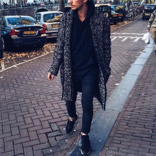 Men's Solid Color Long Woolen Coat