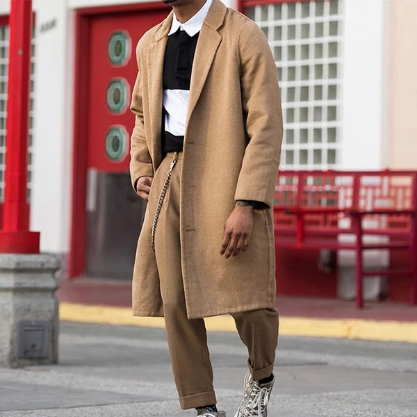 Fashion Brief Solid Color Suit Collar Coat
