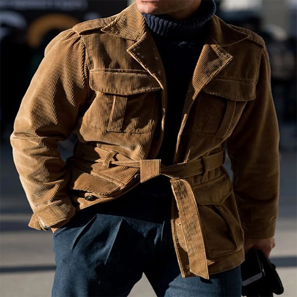 Casual Corduroy Suit Collar Pocket Belt Jacket Outerwear