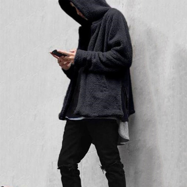 Fashion Mens Loose Plain Floss Zipper Coat
