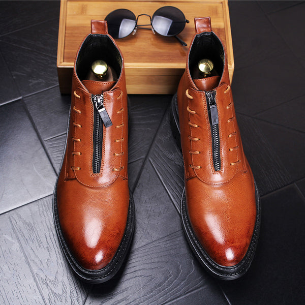 Leather High-Top Fashion Shoes