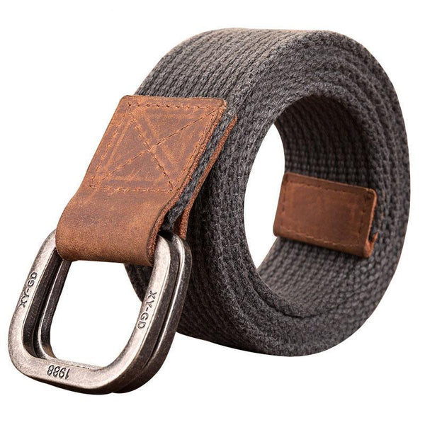 Best YBT Unisex Canvas belt retro washed Alloy double ring buckle canvas belt casual fashion Men cowboy pants women Belt