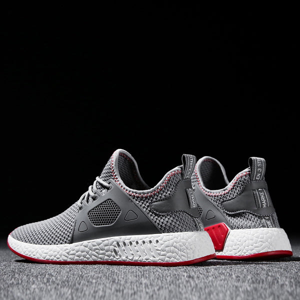 2018 Fashion Men Shoes Casual Weaving Fly Mesh Breathable Light Soft Black Slipon Mens Shoe Male Trainers Sneakers Human Race