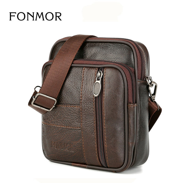 2018 New Brand Design Genuine Leather Messenger Bag For Men Small Mobile Phone Case Crossbody Bag Belt Waist Shoulder Bags