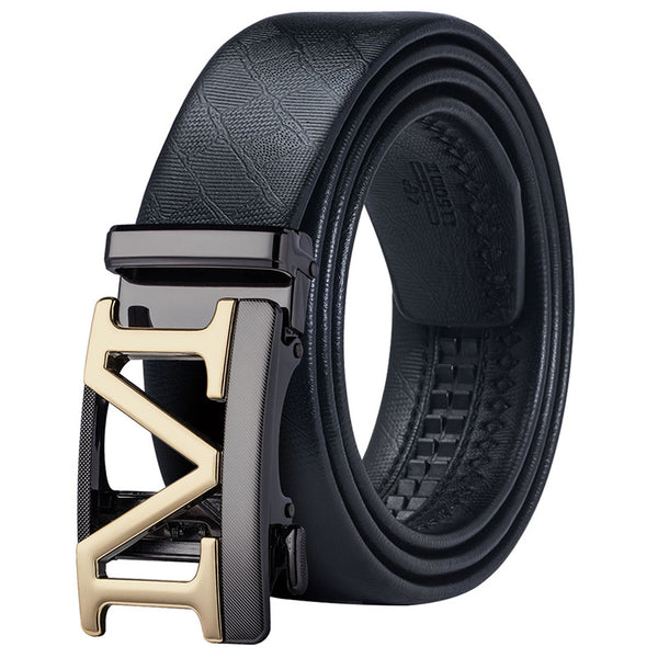 Hi-Tie Men's Business Belt Black Gold Buckle Automatic Genuine Leather Belt High Quality Real Leather Luxury Belt Cintos PD-0058