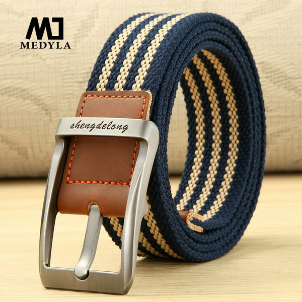 MEDYLA new canvas belt outdoor tactical men&women high quality canvas alloy buckles belts for jeans male fashion casual belt
