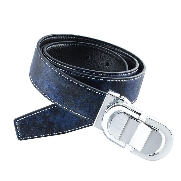 Famous Strap Male Belts for Men Blue Leather Belts with Pin Buckle Free Shipping