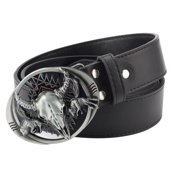Hollow out alloy cow buckle leisure belt