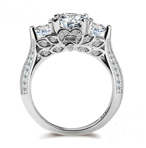 3 Stone Radiant Cut CZ Sterling Silver Engagement Ring - My Accessory Collection