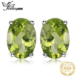 JewelryPalace 1.8ct Genuine Peridot Stud Earrings 925 Sterling Silver Earrings For Women Korean Earings Fashion Jewelry 2020 - My Accessory