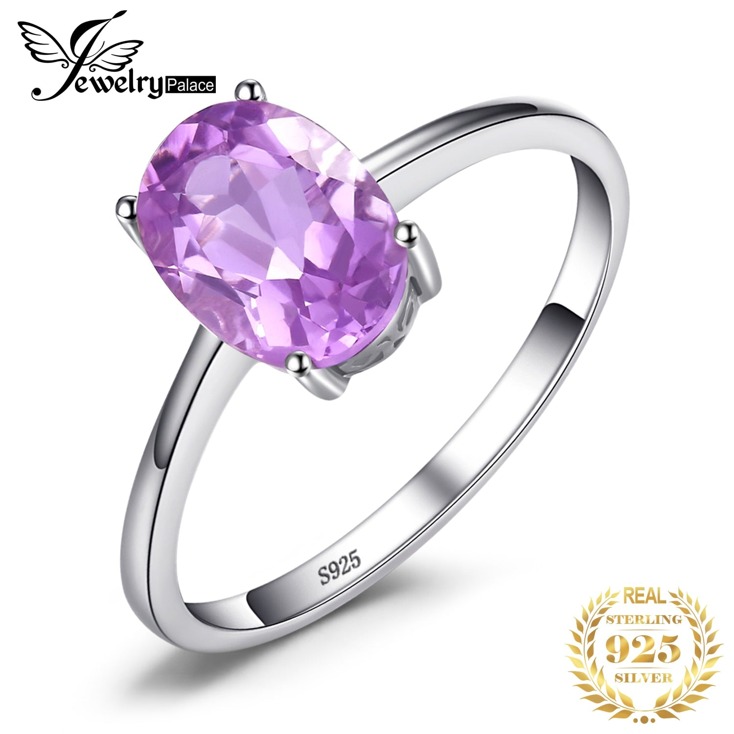 JewelryPalace Genuine Amethyst Ring Solitaire 925 Sterling Silver Rings for Women Engagement Ring Silver 925 Gemstones Jewelry - My Accessory