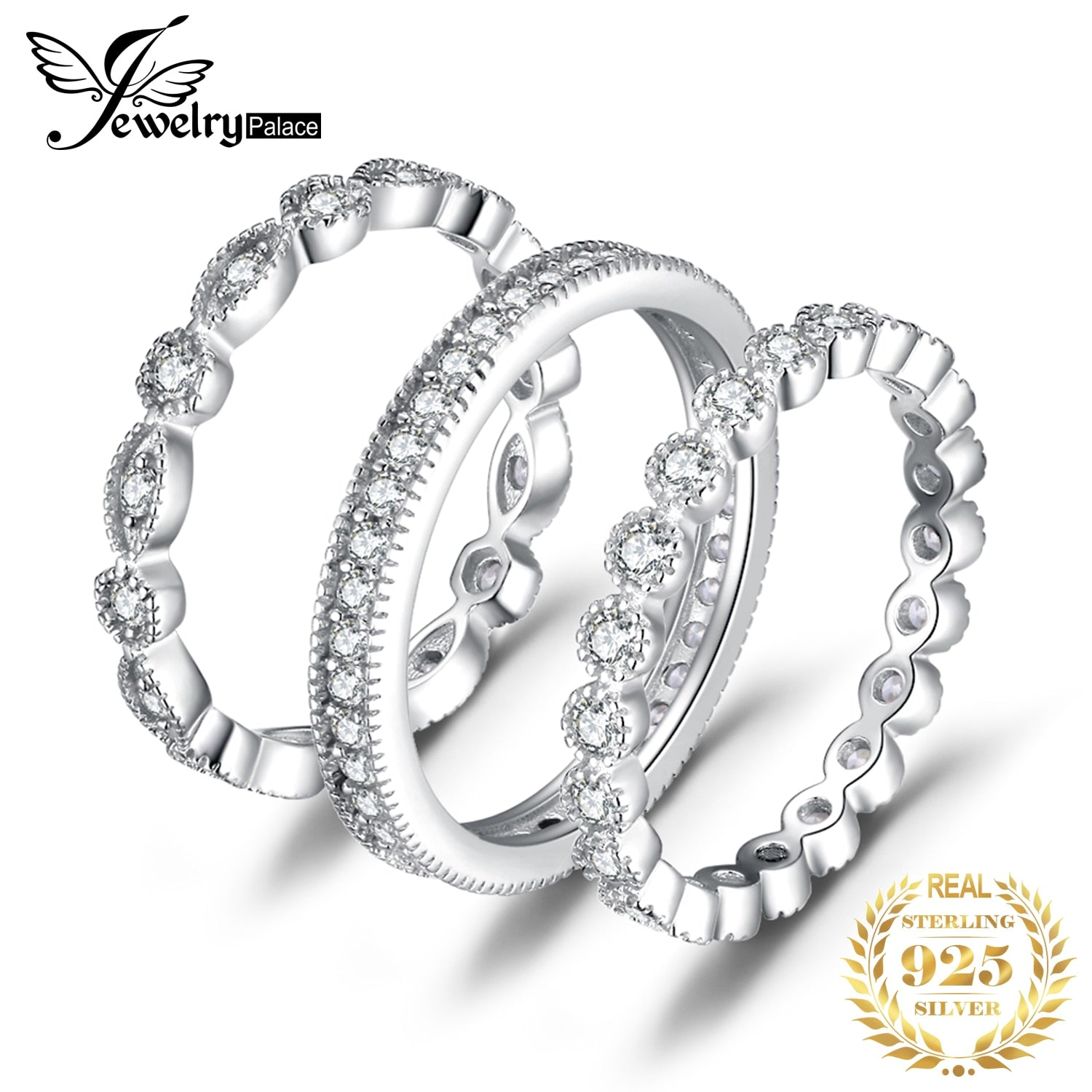 Jpalace Wedding Rings Sets 925 Sterling Silver Rings for Women Anniversary Eternity Stackable Band Ring Set Silver 925 Jewelry - My Accessory
