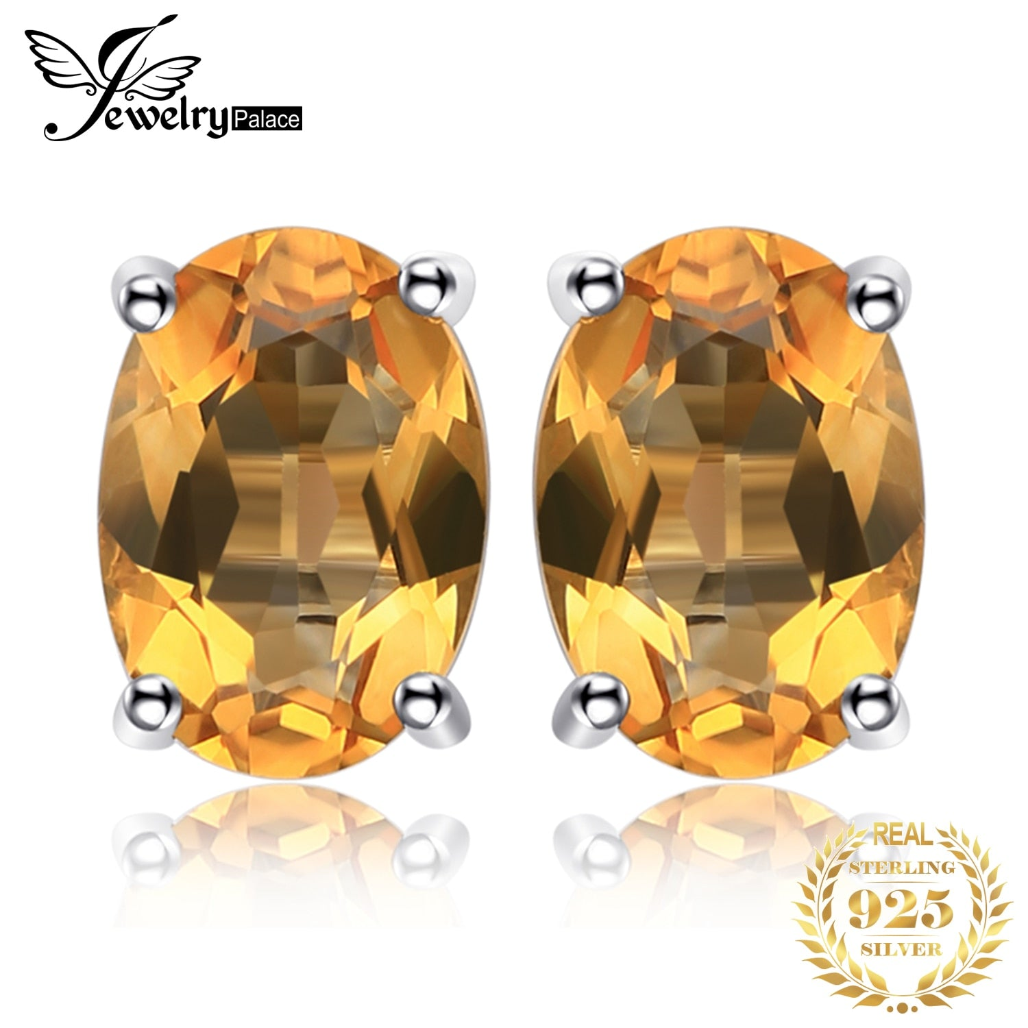 JewelryPalace 1.4ct Genuine Citrine Stud Earrings 925 Sterling Silver Earrings for Women Korean Earings Fashion Jewelry 2020 - My Accessory