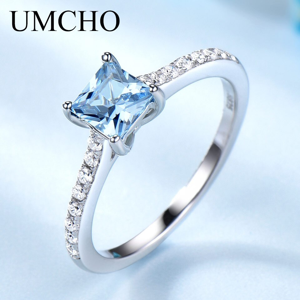 UMCHO Sky Blue Topaz Rings for Women Real Solid 925 Sterling Silver Korean Gemstone Ring Birthstone Girl Gift Wholesale Jewelry - My Accessory