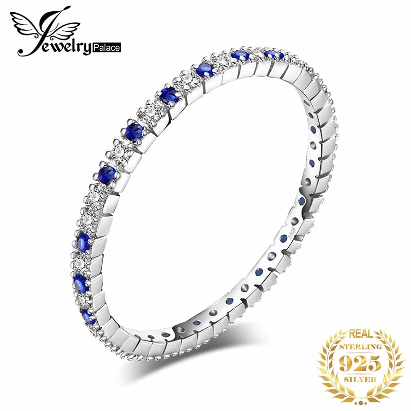 JewelryPalace Created Blue Spinel Ring 925 Sterling Silver Rings for Women Wedding Rings Eternity Band Silver 925 Fine Jewelry - My Accessory