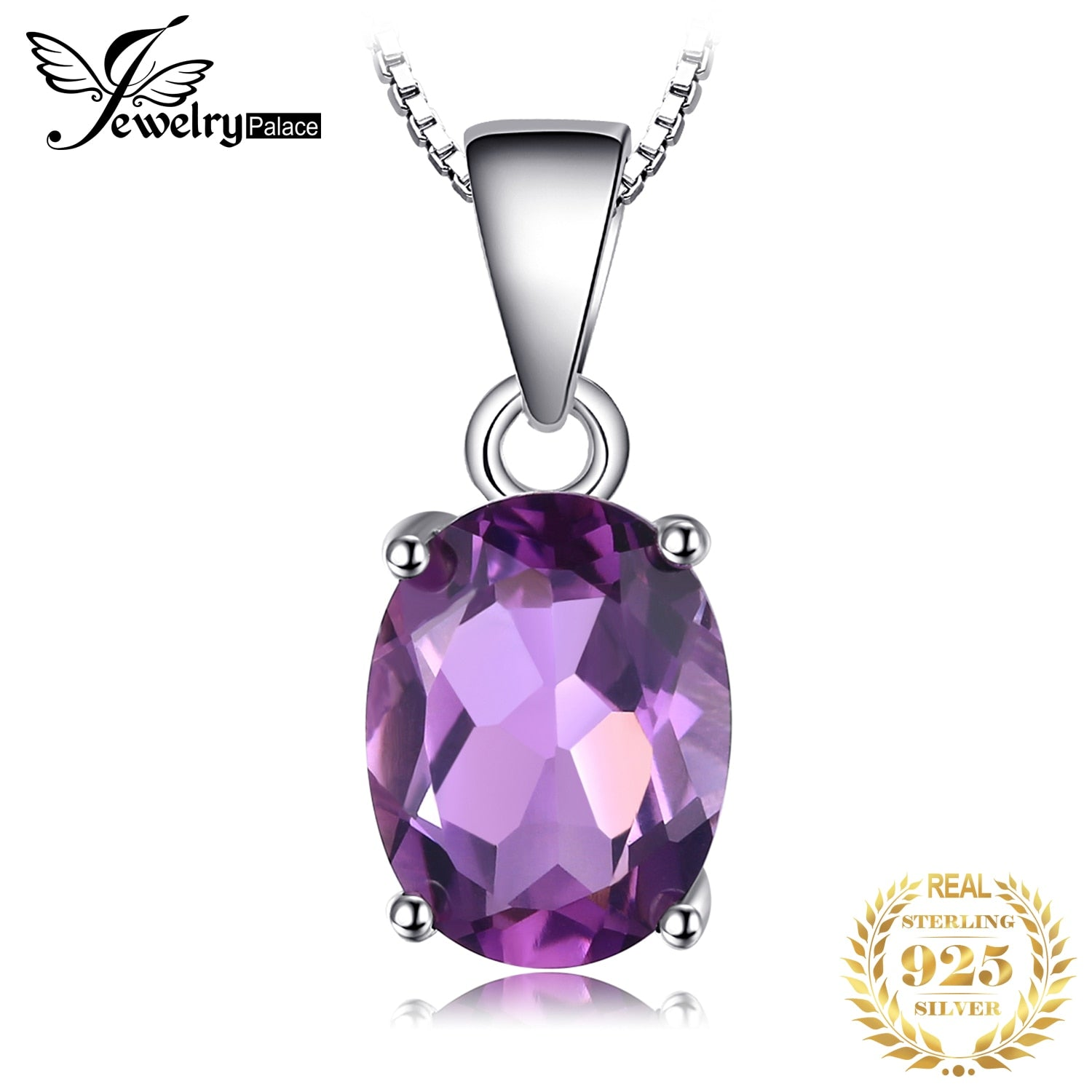 Natural Amethyst Pendant Necklace 925 Sterling Silver Gemstone Choker Statement Necklace Women silver 925 Jewelry Without Chain - My Accessory