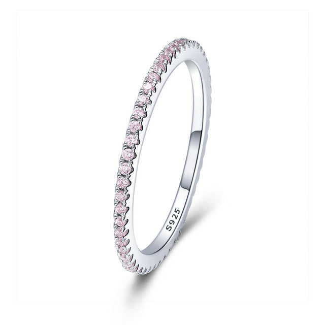 Sterling Silver Pink or White CZ Glitter Wedding Band - My Accessory Collection