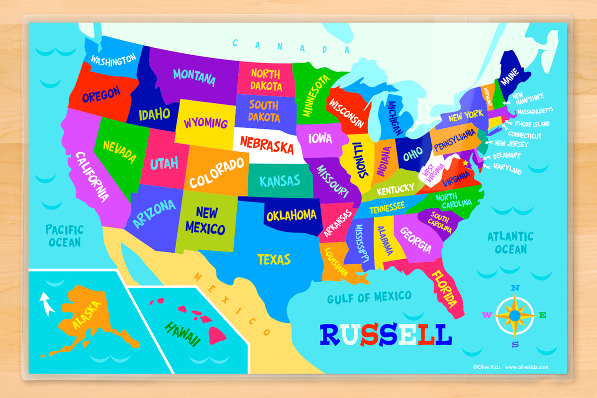USA Map Personalized Kids Placemat