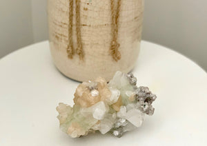 Green Apophyllite, Stilbite on Chalcedony