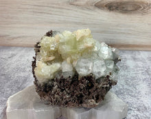 Load image into Gallery viewer, Green Apophyllite with Stilbite on Chalcedony