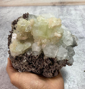 Green Apophyllite with Stilbite on Chalcedony