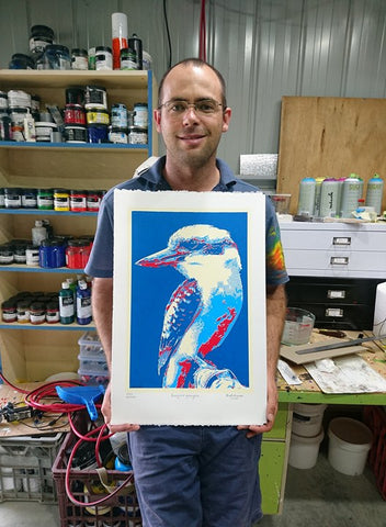 kookaburra serigraph screenprint Mawu-gi studio