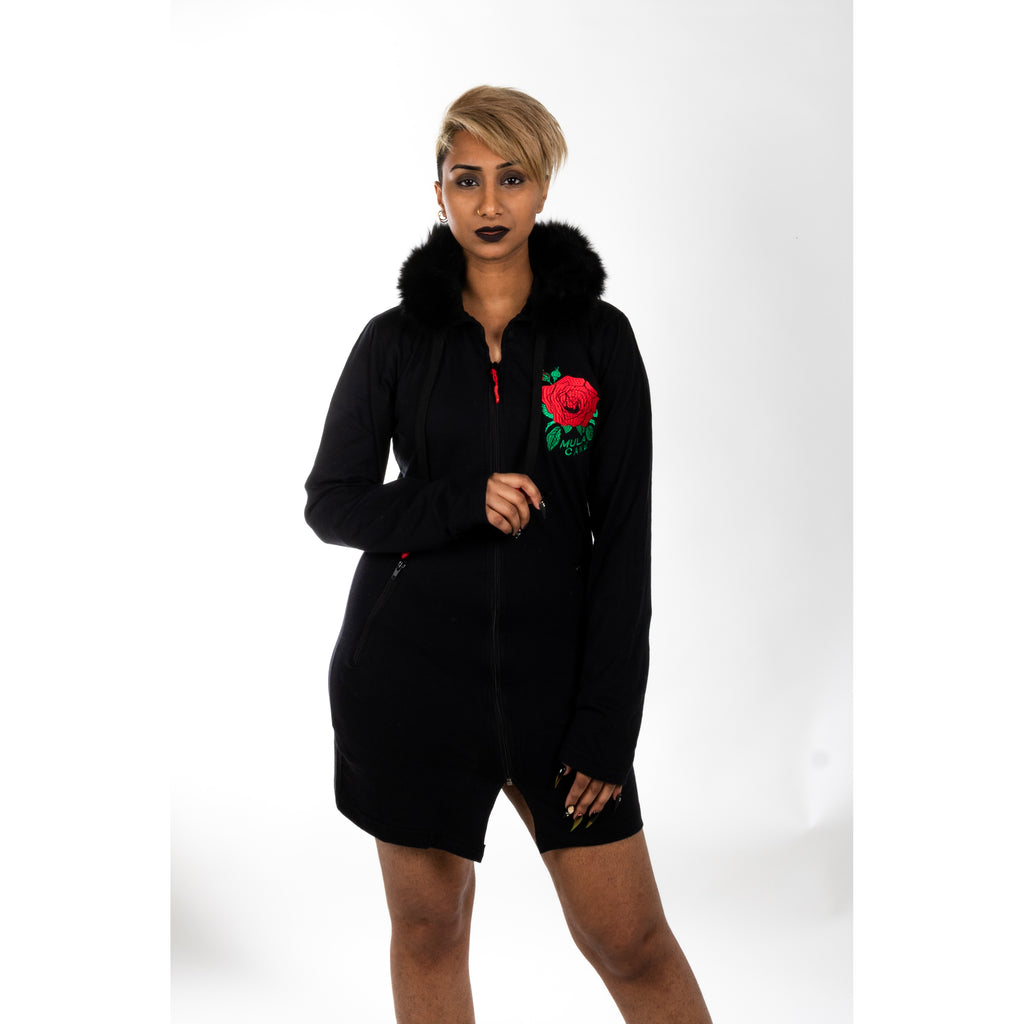 Rose Hooded Zip Up Dress