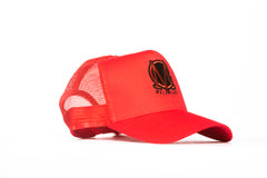 Trucker Mesh Red and Black Snapback Cap