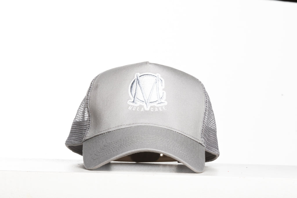 Trucker Mesh Silver and White Snapback Cap