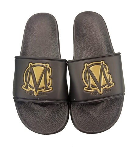 Black Slides Gold MC Logo