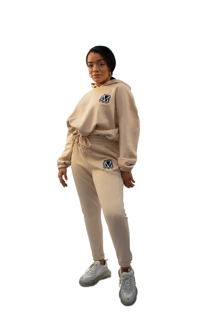 Ladies Cropped Hoody Tracksuit Biege