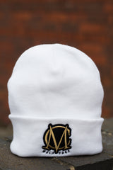 White and Black/Gold Wooly Hat