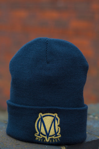 Navy Blue and Gold Wooly Hat