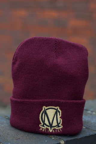 Burgundy and Gold Wooly Hat