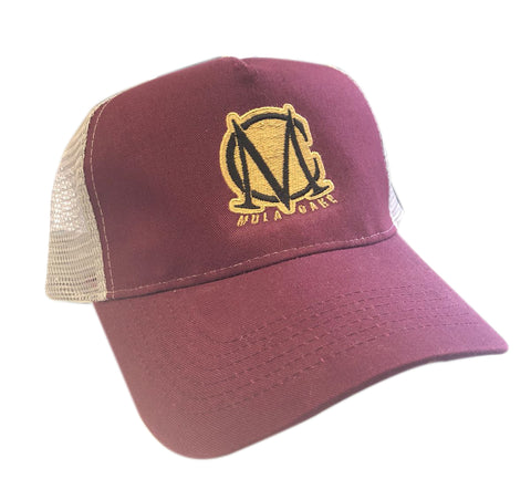 Trucker Mesh Burgundy and Gold Snapback Cap