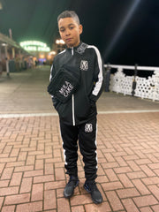 Kids black & white nylon tracksuit