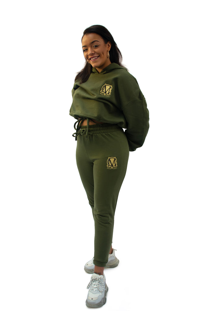 Ladies Cropped Hoody Tracksuit Olive Green
