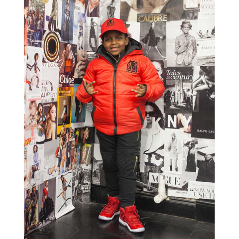 Black and Red Kids Reversible Padded Jacket