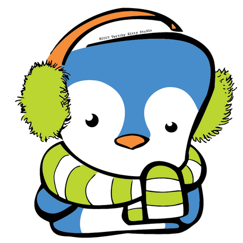 Isaac the kawaii marshmallow penguin with ear muffs and scarf