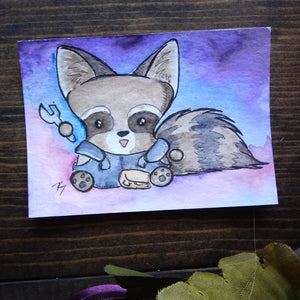 Raccoon Mechanic Watercolor