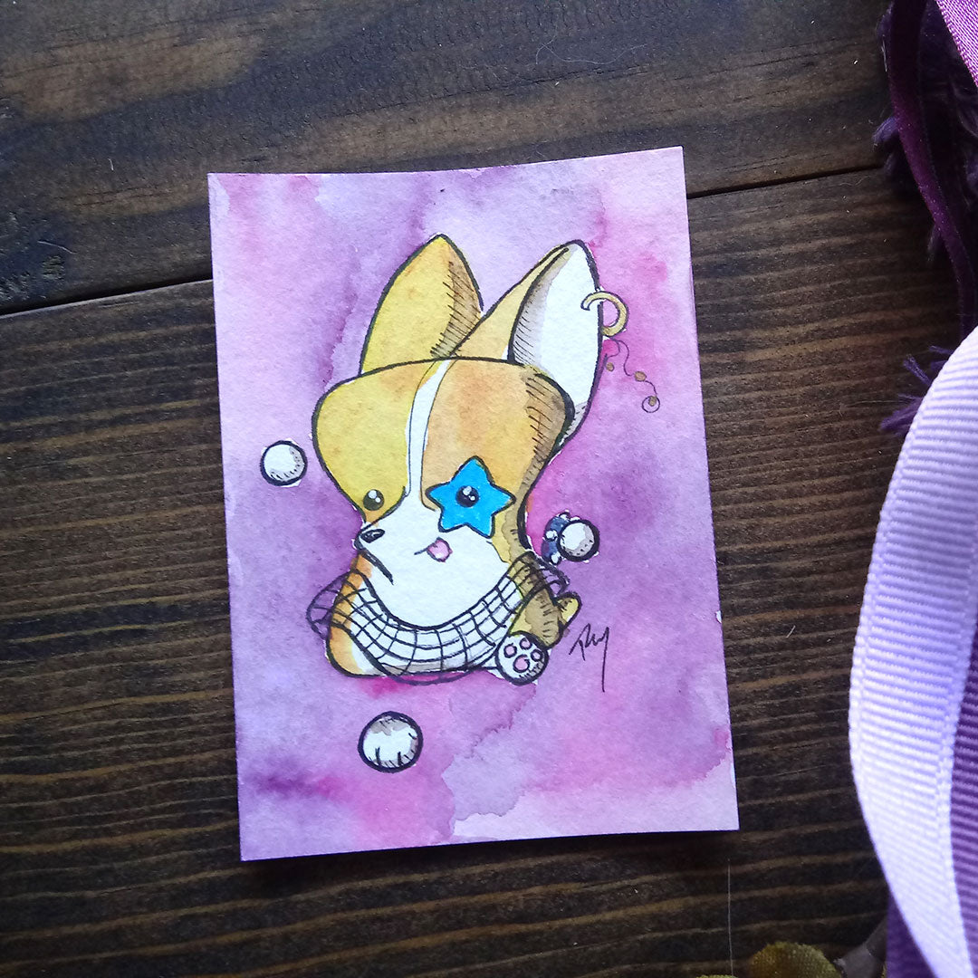Rockstar Corgi Watercolor