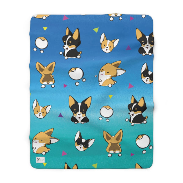 corgi pattern blanket (large). marshmallow red and white corgis and tri-color corgis, triangles in between on a blue and aqua background