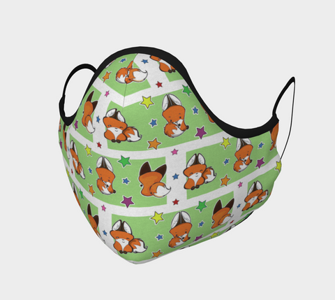 Yip the Fox Green Pattern Face Mask