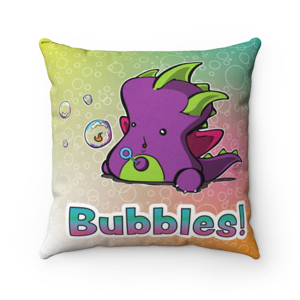 Bubbly Indigo Dragon Faux Suede Square Pillow